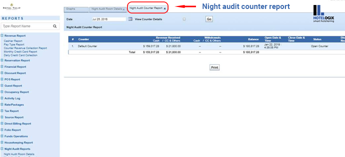 Night audit counter report