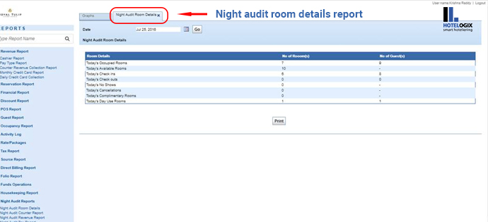 Night audit room details report