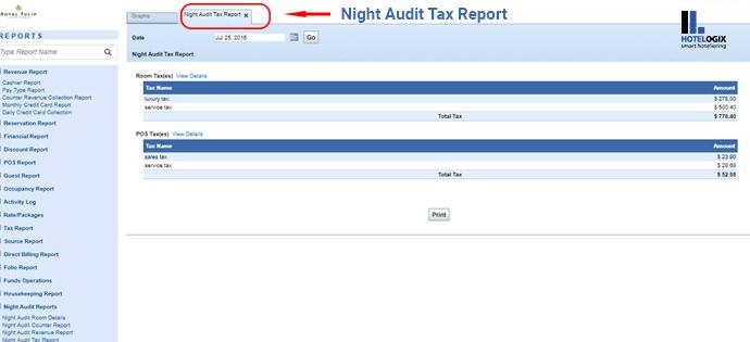 Night audit tax report
